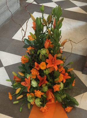 Bukett i orange toner